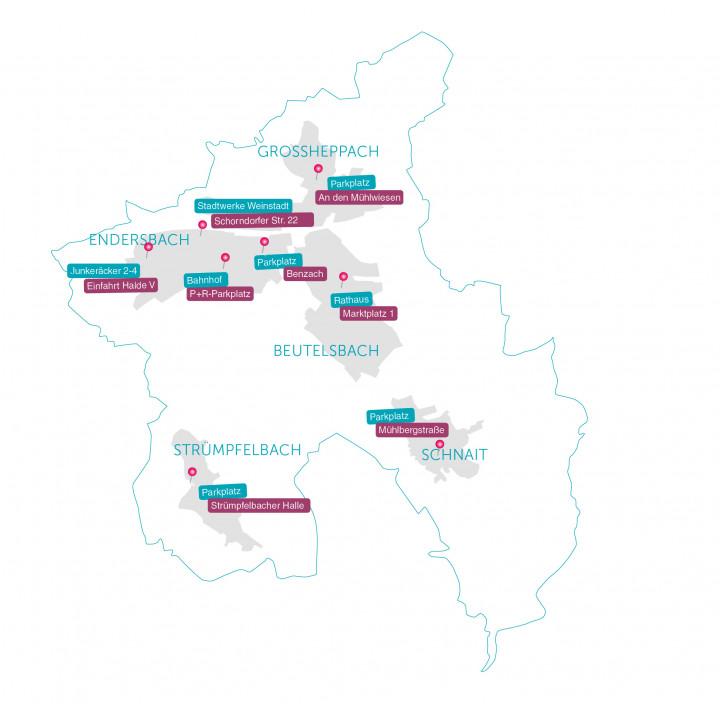 Übersicht E-Ladestationen in Weinstadt